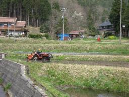 日南町花口で見かけた代掻き作業
