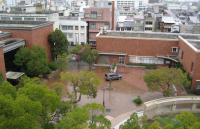 市役所5階から見下ろした図書館(右)と美術館