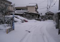 また積もった雪(自宅前、午前7時過ぎ)