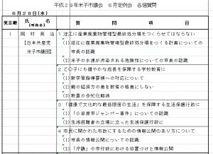 岡村議員、28日(水)に質問。米子市議会